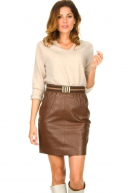 Dante 6 :  Leather skirt Dyna | brown - img2