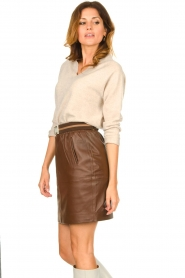Dante 6 :  Leather skirt Dyna | brown - img4