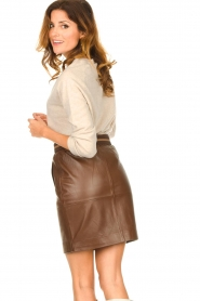 Dante 6 :  Leather skirt Dyna | brown - img6