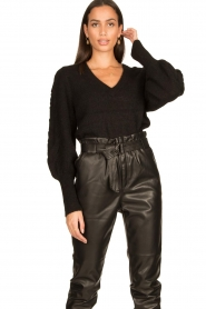 Dante 6 |  V-neck sweater with balloon sleeves Broame | black  | Picture 2