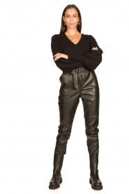 Dante 6 |  V-neck sweater with balloon sleeves Broame | black  | Picture 3