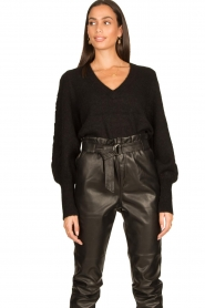 Dante 6 |  V-neck sweater with balloon sleeves Broame | black  | Picture 5