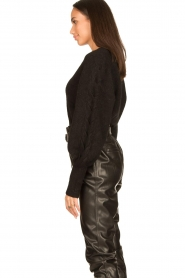 Dante 6 |  V-neck sweater with balloon sleeves Broame | black  | Picture 6