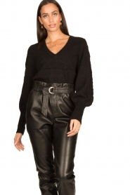Dante 6 |  V-neck sweater with balloon sleeves Broame | black  | Picture 4