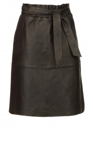 Dante 6 |  Leather skirt with tie belt Noora | black  | Picture 1