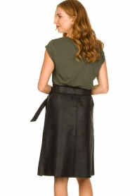 Dante 6 |  Leather midi skirt with tie belt Noora | black  | Picture 5