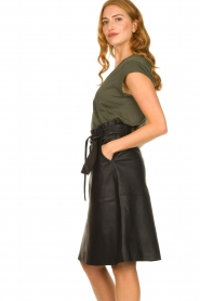 Dante 6 |  Leather midi skirt with tie belt Noora | black  | Picture 4