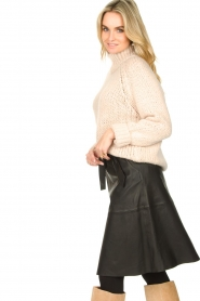 Dante 6 |  Leather skirt with tie belt Noora | black  | Picture 5