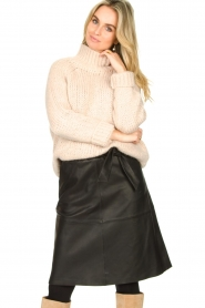 Dante 6 |  Leather skirt with tie belt Noora | black  | Picture 2