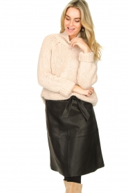 Dante 6 |  Leather skirt with tie belt Noora | black  | Picture 4