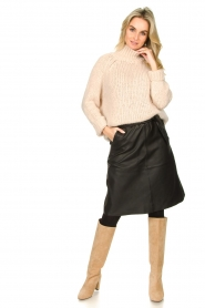 Dante 6 |  Leather skirt with tie belt Noora | black  | Picture 3