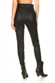 Dante 6 :  Stretch leather paperbag pants Duran | black - img6