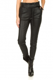 Dante 6 :  Stretch leather paperbag pants Duran | black - img4