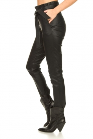 Dante 6 :  Stretch leather paperbag pants Duran | black - img5