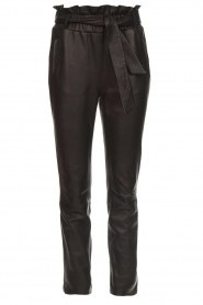 Dante 6 |  Stretch leather paperbag pants Duran | black  | Picture 1