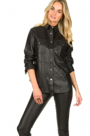 Dante 6 |  Leather blouse Dwight | black  | Picture 4