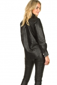 Dante 6 |  Leather blouse Dwight | black  | Picture 6