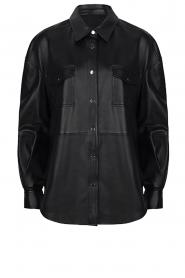 Dante 6 | Leren blouse Dwight | zwart  | Afbeelding 1