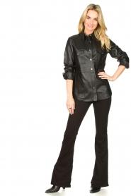 Dante 6 | Leren blouse Dwight | zwart  | Afbeelding 3