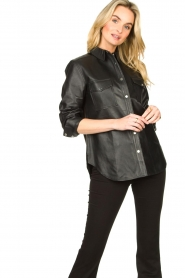 Dante 6 |  Leather blouse Dwight | black  | Picture 2