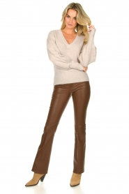 Dante 6 |  Flared stretch leather leggings Tyson | brown  | Picture 2