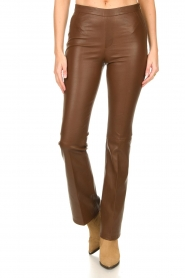 Dante 6 |  Flared stretch leather leggings Tyson | brown  | Picture 5