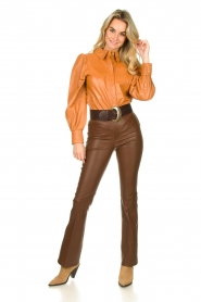 Dante 6 |  Flared stretch leather leggings Tyson | brown  | Picture 3
