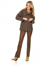 Dante 6 |  Flared stretch leather leggings Tyson | brown  | Picture 4
