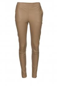 Dante 6 |  Stretch leather leggings Lebon | taupe  | Picture 1