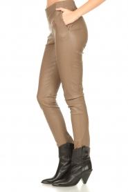 Dante 6 |  Stretch leather leggings Lebon | taupe  | Picture 5