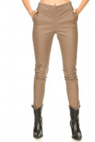 Dante 6 |  Stretch leather leggings Lebon | taupe  | Picture 4
