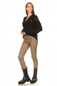 Dante 6 |  Stretch leather leggings Lebon | taupe  | Picture 2