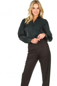 Dante 6 |  Blouse with puff sleeves Mauri | green  | Picture 4