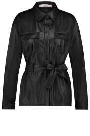 Aaiko |  Faux leather blouse with belt Pamas | black  | Picture 1