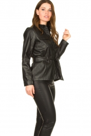 Aaiko |  Faux leather blouse with belt Pamas | black  | Picture 5