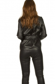 Aaiko |  Faux leather blouse with belt Pamas | black  | Picture 6