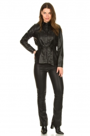 Aaiko |  Faux leather blouse with belt Pamas | black  | Picture 3