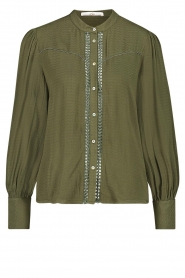 Aaiko |  Blouse with pleated sleeves Tamia | green  | Picture 1
