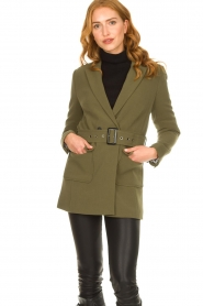 Aaiko |  Belted blazer Larise | green  | Picture 4