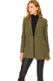 Aaiko |  Belted blazer Larise | green  | Picture 5