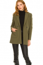 Aaiko |  Belted blazer Larise | green  | Picture 2