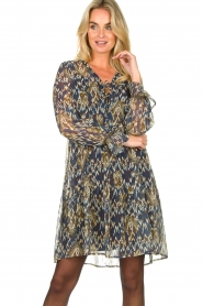 Aaiko |  Printed dress with ruffles Isabel | blue  | Picture 6
