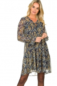 Aaiko |  Printed dress with ruffles Isabel | blue  | Picture 2