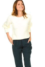 Aaiko |  Sweater with balloon sleeves Elyse | white  | Picture 4