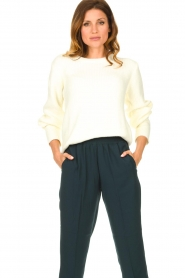 Aaiko |  Sweater with balloon sleeves Elyse | white  | Picture 2