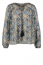 Aaiko |  Printed blouse Isaya | blue  | Picture 1