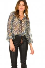 Aaiko |  Printed blouse Isaya | blue  | Picture 2