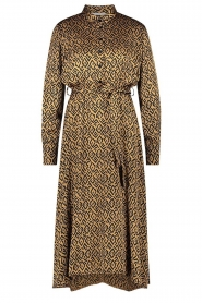 Aaiko |  Printed midi dress with belt Soila | brown  | Picture 1