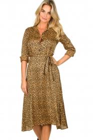 Aaiko |  Printed midi dress with belt Soila | brown  | Picture 2