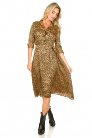 Aaiko |  Printed midi dress with belt Soila | brown  | Picture 3